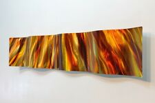 Amber/Gold Abstract Metal Wall Art Wave Accent - Modern Home Decor by Jon Allen