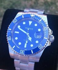 Parnis 40mm Blue Dial Sapphire Glass Ceramic Bezel Submariner Automatic Watch
