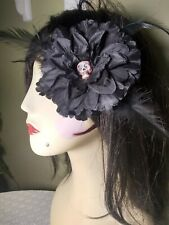 pin-up,burlesque black flower with feathers handmade one of a kind sugar skull