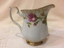 "Vintage Chodziez Porcelain Creamer-""Pink Rose Moss""-Brushed Gold Edge-Poland"