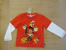 NEW boys DISNEY STORE TOP  Jake & the pirates Top red  2-3 years long sleeved