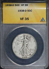 1938-D Walking Liberty Silver Half Dollar ANACS VF-35 -135318
