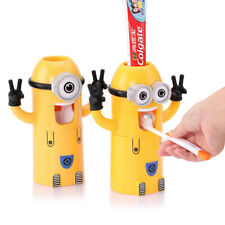 Fashion Cute Wall Mounted Toothbrush Holder Minions Auto  Toothpaste Dispenser