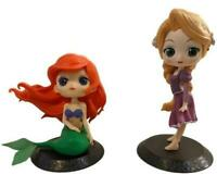 Disney Princess Q Posket Figures Set of 2 Ariel Rapunzel Tangled Mermaid (J)