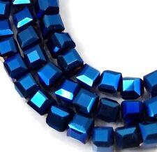50 Czech Firepolish Glass Faceted Cube Beads 3mm - Metallic Cobalt Blue