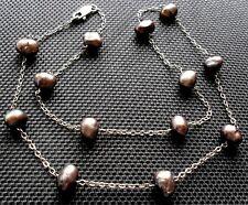 Feine TAHITI Barock Perlenkette 925 Sterling Silber