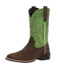 Ariat Sport Wide Square Toe Leather Western Boot Brown Green Mens Size 9 D New