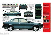 1981-1995 MASERATI BITURBO SPEC SHEET / Brochure: 1985,1986,1987,.....Bi-Turbo