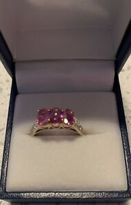 9ct Yellow Gold Pink Sapphire and Diamond Three Stone Ring (Size N 1/2) 1.95cts