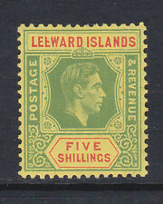 LEEWARD ISLANDS 1938-51 5/- WITH BROKEN 'E' FLAW SG 112a MINT.