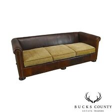 Lillian August Brown Leather Sofa With Upholstered Cushion