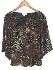 Dressbarn Sparkly Black Gold Brown Festive Top Boho Slv Lace Knit Shirt Small S