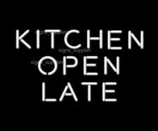 "Kitche Open Late White Neon Sign Acrylic Gift Light Lamp 17""x14"" Artwork Bedroom"