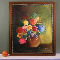 Vintage Large Oil on Canvas Still Life Painting Vase with Flowers, Framed Signed