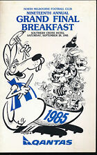 1985 North Melbourne Football Club Grand Final Breakfast Menu Weg Essendon
