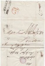 * 1842 STEP DOWN COWES SHIP LETTER RIO DE JANEIRO WRAPPER BRAZIL TO HUTH LONDON