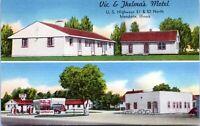 Mendota IL Vic Thelmas Motel Conoco Gas Station 1940s Linen Postcard Lasalle Co