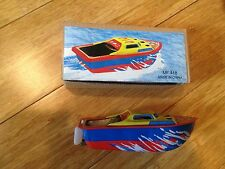 """Colorful Pop Pop Boat Tin Toy Candle  """"boiler""""  Powers boat through the water!!!"""