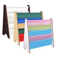 Wood Kids Book Shelf Sling Storage Rack Organizer Bookcase Display Holder Opt.