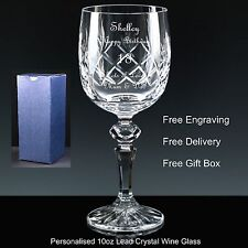 Personalised 10oz Cut Crystal Wine Glass Birthday Gift 18th 30th 40th 50th 60th