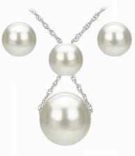 10K White Gold Pendulum Ex Large White Pearl Pendant, Earrings & Chain Set