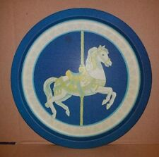 "1990 Wang'S Int'L Carousel Horse Tin Metal Platter 12"" Serving Tray Vg/+"