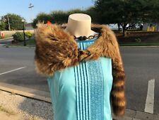 Vintage 1950 Full Skin Authentic Raccoon Taxidermy Fashion Fur Stole Shrug