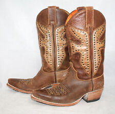 FRYE 77782 Daisy Duke Wo's 6M Brown Distressed Leather Studded Western Boots