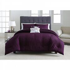 Metaphor Plum Purple Seersucker Striped 5-Piece Comforter Set, Full/Queen