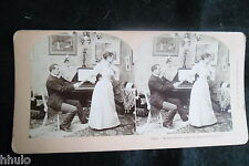 STA915 Scene de genre Amour Homme et femme piano Photo 1900 STEREO stereoview