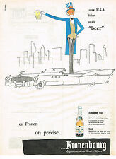 PUBLICITE ADVERTISING  1960   KRONENBOURG    bière  1664  aux USA on dit BEER