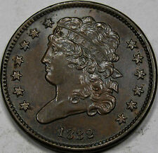 1832 Classic Head Half Cent... A Very Choice Unc. BN - Lustrous Chocolate Brown!