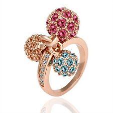 Shamballa Crystal Fuchsia, Sky Blue, Orange Three Ball Ring Size 8