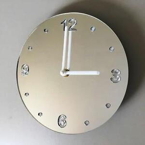 Round Silver Mirror & White Clock (white Back) white Hands&Silent Sweep Movement