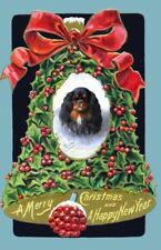 VintageChristmas Art~Cavalier King Charles Spaniel Dog~Holly Bell~New Note Cards