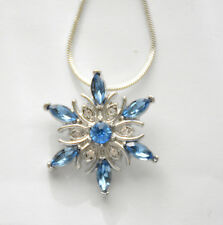 "Snowflake Pendent Necklace w Blue & Clear Crystals / 18"" Silver-tone Chain"