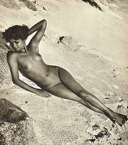 Original Vintage Female Tamil Indian Outdoor Nude Beach Photo Gravure Print