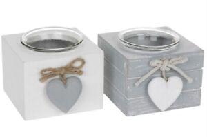 Shudehill Provence Grey White Wooden Single Candle Tea Light Holder Home Decor