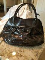 "$835 FURLA Black Croc Embossed Large Leather ""Clara"" Satchel Handbag"