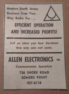 1964 Allen Electronics Somers Point New Jersey Advertisement