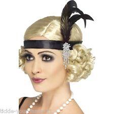 Womens Black Satin Flapper Charleston Headband 20's Fancy Dress Dancer Gangster