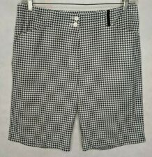 Golf Shorts Black White Nike Fit Dry Houndstooth Pockets Sports 12 Knee Length
