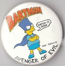 Vintage 1990 The SIMPSONS TV Television Show Button Pin BART BARTMAN AVENGER