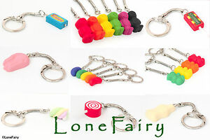 Polymer Clay Pick n Mix Sweet keyrings Shrimp Lolly Food Jelly Gummy Key Chain