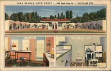 1940 Salt Lake City,Ut Casa Blanca Auto Court Teich Roadside Utah Linen Postcard