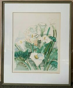 """RARE Mid Century Raoul Dufy FRENCH ARTIST framed print """"Les Arums"""""""