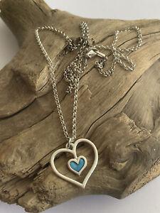 Vintage 925 Silver & Blue Enamel Open heart Shaped Pendant & 18 Inch Chain 4.4g