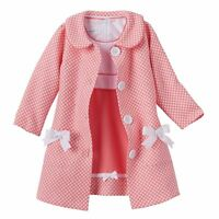 Bonnie Jean Little Girls Easter Holiday Coat Coral Dress Polka 2pc Set 4 5 6 6X