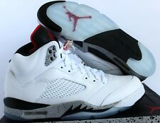 NIKE AIR JORDAN 5 RETRO WHITE-BLACK-CEMENT SZ 14 [136027-104]