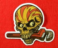 2 Gear-Head Skull Vinyl Stickers